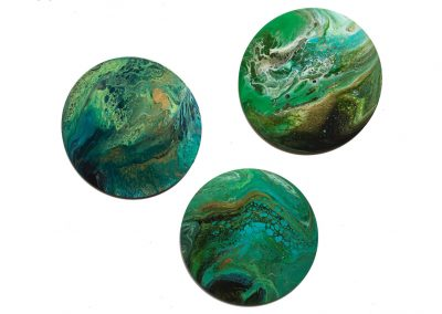Green, teal & Gold triptych