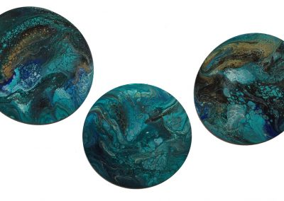 "Blue, teal, gold & black 12"" triptych"